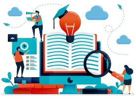 Digital library to get ideas, inspiration and solutions. Online learning for students. Reading app, online books. Education by blog.Vector illustration, landing page, card, banner, brochure, flyer