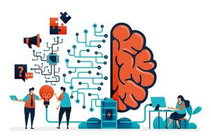 Artificial intelligence for problem solving. Artificial brain network system. Intelligence technology for question n answer, ideas, completing task, promotion. Business card, banner, brochure, flyer vector