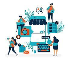 plataforma de mercado para vender con teléfono inteligente. crear tienda o negocio con un sistema móvil. promoción de internet online. ilustración vectorial plana para página de destino, web, sitio web, banner, aplicaciones móviles vector
