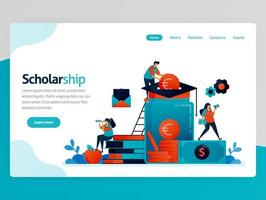 Vector illustration for scholarship landing page. Scholarship program for outstanding students. Donation and education savings. Funding assistance for study. Homepage header web page template apps