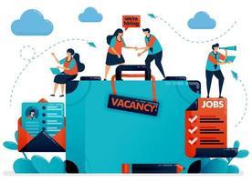 Hiring recruitment design. Job vacancy. We're hiring employee. Open vacancy design template. Briefcase and email cv resume. Jobs career. Vector illustration for business card, banner, brochure, flyer