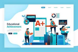 landing page of educational achievement. Academic performance, student, teacher, institution goal. improve learning skills, knowledge, planning, critical thinking. designed for website, mobile apps