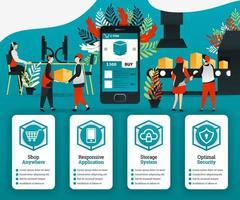 revolución de la industria 4.0, los clientes pueden comprar artículos directamente de fábrica con la aplicación. se puede utilizar para, página de destino, plantilla, interfaz de usuario, web, promoción en línea, marketing en Internet, finanzas, negocios vector
