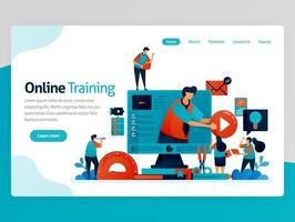 Vector illustration for online training landing page. Web and learning apps. Modern education, distance learning and elearning. Interactive courses and tutoring. Homepage header web page template apps