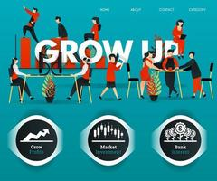 people are working, employees are discussing for GROW UP company. can use for, landing page, template, ui, web, mobile app, poster, banner, online promotion, internet marketing, finance, trading vector