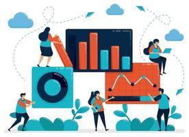 análisis estadístico de mercado. datos de gráficos de negocios. trabajar con datos estadísticos. crecimiento económico y empresarial. planificación de la empresa de inicio. ilustración vectorial, diseño gráfico, tarjeta, pancarta, folleto, volante