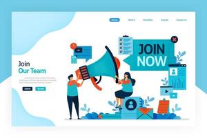 Landing page of join now. hiring and open recruitment of employee. referral memberships business. megaphone for refer a friend. resume application and job interview. designed for website, mobile app