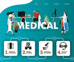 scientist and doctor are examining MEDICAL problem to facilitate patient. can use for, landing page, template, ui, web, mobile app, banner, illustration, online promotion, internet marketing, trading vector
