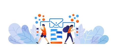 exchanging messages with social media. send digital messages and emoticons with envelopes. talk by typing vector illustration concept for landing page, web, ui, banner, poster, template, background