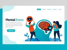 Illustration of mental illness. People love to brain problem. Health therapy for trouble people. Mental healing and treatment. Vector cartoon for website homepage header landing web page template apps