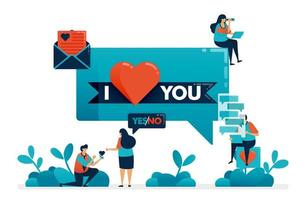 Express feelings of love by I love you. Proposal for marriage engagement. Girlfriend and boyfriend relationship. Establish domestic relations. Illustration of website, banner, poster, invitation, card vector