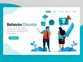Illustration of behavior disorder. False emotions. Multiple personality. Hypocritical. Lying with yourself. Desire to kill. Vector cartoon for website homepage header landing web page template apps