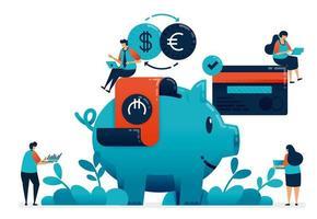 Plan de inversión para jubilación, propiedad, escuela, inversión con servicios bancarios. consultor de planificación financiera, ahorro y donación con hucha, ilustración del sitio web, banner, software, cartel vector