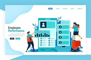 Landing page of employee performance. attracting, shortlisting, selecting and appointing candidates for jobs. employment agencies, commercial recruitment, specialist search consultancies, Job analysis vector