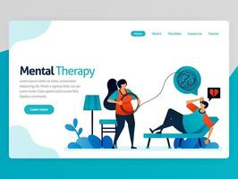 Illustration of mental therapy. Loneliness people counseling to psychiatrist to straighten line of life problems complicated. Vector cartoon for website homepage header landing web page template apps