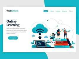 Online learning or e-learning with cloud internet database. Store schoolwork and textbook on laptops. Study modern education technology.Vector illustration, landing page, card, banner, brochure, flyer vector