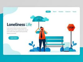 Illustration of loneliness life. Feeling lonely, unhappy, alone, sad, useless. Mental illness. Feel failure, not appreciated. Vector cartoon for website homepage header landing web page template apps