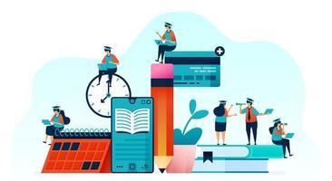 Ilustración vectorial de personas que aprenden a usar libros electrónicos con aplicaciones móviles. leer libros con un teléfono inteligente para cursos en línea, seminarios web y tutoriales. enseñanza y tutoría en línea. para página de destino, web, póster