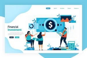 Landing page of financial investment. invest to allocate money in expectation of benefit in future. investment return, dividends, interest, rental income of capital gain and currency exchange rates