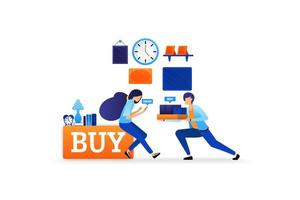 experience of buying goods online with fast delivery buy now and shop right up. e-commerce technology vector illustration concept for landing page, web, ui, banner, flyer, poster, template, background
