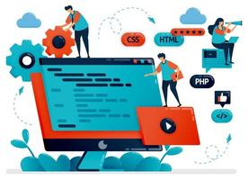 Designing program, web, apps on monitor screen or desktop. Teamwork in developing programming. Debugging development process. Vector illustration for website homepage header landing web page template