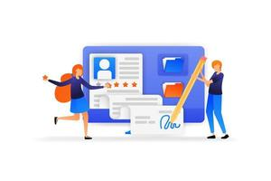 people approve new employee registration application. signature for a new agreement with a good five star rating. vector illustration concept for landing page, web, ui, banner, flyer, poster, template