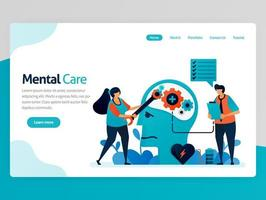 Illustration of mental care. repair mind and psychology. Awareness for mental illness. Care for mental health, mind, brain. Vector cartoon for website homepage header landing web page template apps