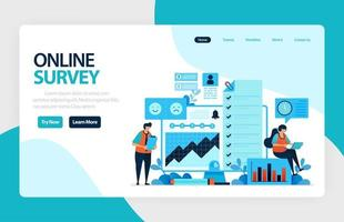 Landing page online survey. Satisfaction feedback, review form service, Exams Choices Flat character for learning and survey consultants. for banner, illustration, web, website, mobile apps, flyer