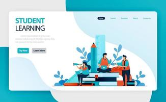 landing page for student learning and education. student study. online mobile modern learning. knowledge acquired through experience, study, being taught. vector design for business card website web
