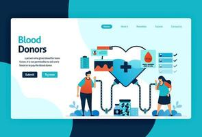 Vector flat illustration template of Blood donation and Charity. June 14 is blood donor day, heart with a red cross symbol, medical check-up awareness. for banner, landing page, web, website, mobile