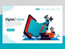 Vector illustration for digital ebook landing page. Mobile apps for reading, writing, studying. modern library platform. Online learning, language education. Homepage header web page template apps