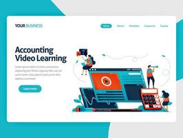 Accounting studies with e-learning. Business education and finance, learning technology, video learning, online financial consulting.Vector illustration, landing page, card, banner, brochure, flyer vector
