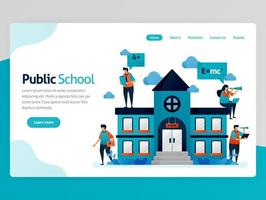 Vector illustration for education landing page. Public school buildings and workplace, online education scholarship, modern learning, e-learning training  platform. Homepage header web page template