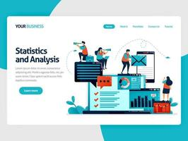 Analyze statistic and data on company report. Laptop dashboard for accounting job. Optimize mobile digital services for work. Flat vector human illustration for landing page, website, mobile, poster