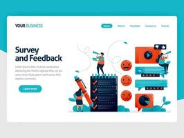 Fill out survey for feedback. Emoticon in comments. User ratings in services. Assessment to improve experience. Exam and questionnaire. Flat character for landing page, website, mobile, flyer, poster vector