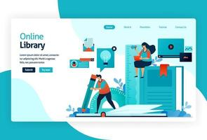 illustration of landing page for digital library. repository or collection of online database of text, images, audio, video, or other media format. organizing, searching, and retrieving book and print vector