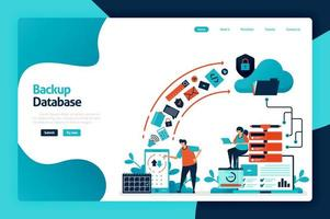 Backup database landing page design. secure personal data with internet backup services to cloud and server. data center and network system. vector illustration for poster, website, flyer, mobile app