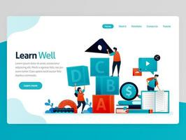 Vector illustration for learn well landing page. Learning well, training teamwork and leadership, learning and playing. Intelligence game for student numeration. Homepage header web page template apps