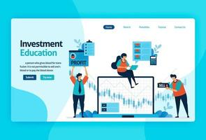 landing page vector design for investment education. return of investment with planning, stock market and mutual funds, fixed income, money market. for banner, illustration, web, website, mobile apps