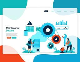 homepage landing page vector flat illustration of maintenance system. repair and maintenance of cloud storage technology. security system in digital backup database. web, flyer, website, mobile apps