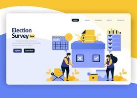 Ilustración de diseño plano de vector de página de destino de encuestas de satisfacción para elecciones y campañas de votación del gobierno, selecciones de tecnología en línea. para sitios web, aplicaciones móviles, banner, flyer, folleto, anuncios