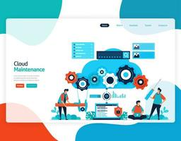 homepage landing page vector flat illustration of cloud maintenance. repair and maintenance of cloud storage technology. security system in digital backup database. web, flyer, website, mobile apps