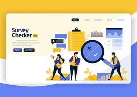 landing page vector flat design illustration of survey checkers with automatic checking technology, internet artificial intelligence, big data. for websites, mobile apps, banner, flyer, brochure, ads