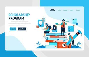 Landing page for scholarship education program, open donations and funding for outstanding student, Low interest loans for educational institutions, tuition fees. for banner, web, website, mobile apps vector