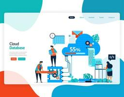 homepage landing page vector flat illustration of cloud database. repair and maintenance of cloud storage technology. security system in digital backup database. web, flyer, website, mobile apps