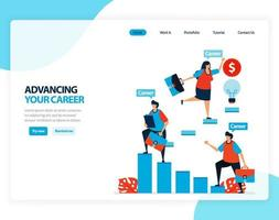 Vector illustration of advancing your career. training and coaching to increase ability of employees. Flat cartoon for landing page, template, ui ux, web, website, mobile app, banner, flyer, brochure