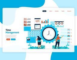 vector de página de destino de gestión del tiempo y programación de trabajos, proyecto, planificación y gestión del trabajo a tiempo, falta de tiempo en el negocio, trabajo con tiempo. ilustración para sitio web, aplicaciones móviles, página de inicio, folleto, tarjeta