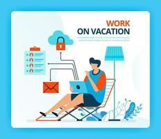 Vector illustration for work at vacation and overtime job. Human vector cartoon characters. Design for landing pages, web, website, web page, mobile apps, banner, flyer, brochure, poster