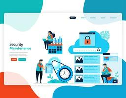 homepage landing page vector flat illustration of security maintenance. repair and maintenance of cloud storage technology. security system in digital backup database. web, flyer, website, mobile apps