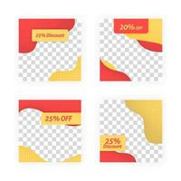 social media post templates for discounts, sales and offers. online media content promotions and marketing element. Square photo template for online ads, print flyer, brochures, cards, online ads vector